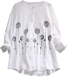 Howely Women's Comfy Chic Linen Embroidered Loose Cardi Tops T-Shirts Blouse