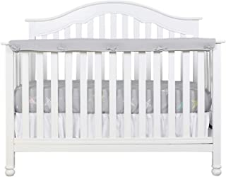 Designthology (U.S.) 1-Pack Super Breathable Narrow Crib Rail Cover for Long Rail - 100% Cotton Muslin, Gray, for Rails Measuring up to 8 Around