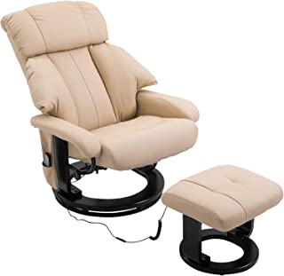 HOMCOM PU Leather Massage Swivel Recliner Chair and Ottoman with Bentwood Base - Cream White