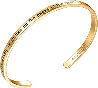 Solocute Sterling Silver Bangle Bracelet Engraved The Story of Friendship is Written On The Pages of The Heart. I Am a Better Me Because of You Inspirational Jewelry, Womens Cuff Bracelets