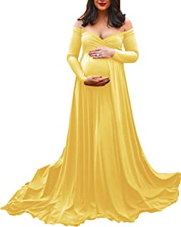 8422f5abaf039 Saslax Maternity Off Shoulders Half Circle Gown for Baby Shower Photo Props  Dress