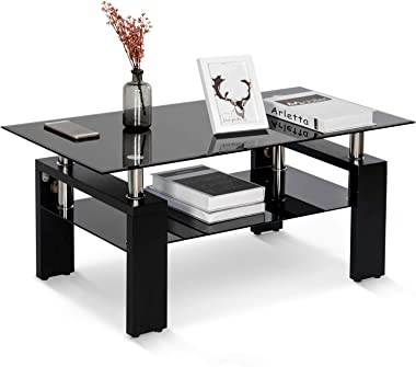 YINKUU Tavolino da salotto rettangolare in vetro lucido con ripiano inferiore moderno, mobili da salotto in vetro temperato,