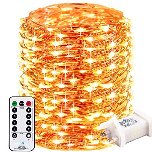RcStarry 1000 LED 100M Led String Lights, Remote&Timer 8 Modes Copper Wire Fariy Lights Plug in,IP65 Warterproof for Outdoor, Indoor, Wedding,Christmas, Garden, Gazebo and More,(Warm White)