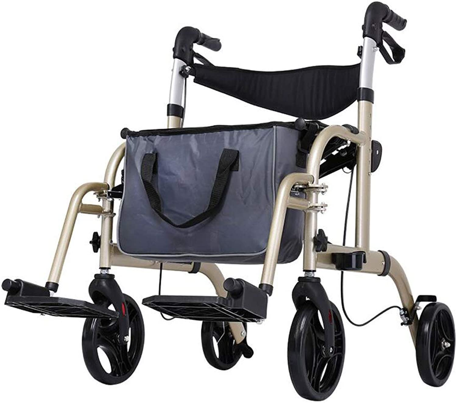 Walker, Simple Wheelchair, Aluminum Alloy Old Cart Scooter Old Shopping Cart with Wheel and Seat Assisted walking (color   B)