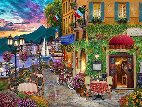 5D DIY Diamond Painting by Number Kit Town Street Square Drill,120x90cm Adults and Kids Full Drill Beads Crystal Rhinestone Embroidery Cross Stitch Supplies Arts Craft for Home Wall Decor U3477