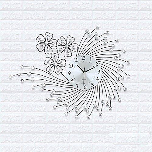 QMPZG-Wohnzimmer modern minimalistische Mode kreativ Wandtafeln, Schlafzimmer ultra leise Wanduhren,Weiße Diamanten