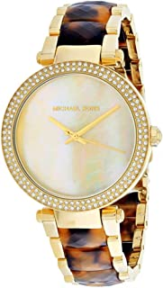 Parker Glitz Crystals Mother of Pearl Dial Gold Tortoise Women's Watch MK6518