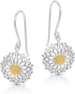 BLING BIJOUX Golden Pollen SunFlower Earrings Never Rust 925 Sterling Silver Natural and Hypoallergenic Hooks For Women an...