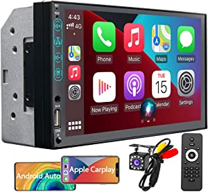 7 Inch Double Din Car Stereo Compatible with Apple CarPlay and Android Auto, Multimedia Touchscreen Radio Receiver with Bluetooth and Backup Camera, Phone Mirror-Link, AM/FM USB AUX RCA Audio Output