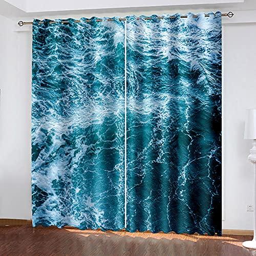 LEIMAS Azul Cortinas Y Visillos Marina Cortinas Salon 150 x 166 cm 3D Patrón Cortinas Opacas con Ojales para Dormitorio Salon