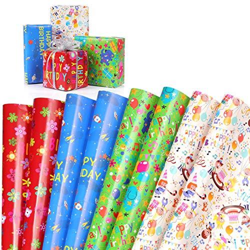 MOOKLIN ROAM 8 Foglio di Carta da Regalo Happy Birthday per Bambini Ragazzi Ragazze Regali, Carta Kraft Piegato Piatto con 4 Fantasie per Compleanno, Capodanno, Matrimoni e Natale, 70 X 50 cm