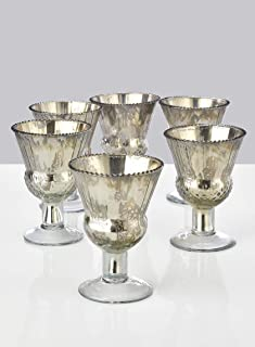 """Serene Spaces Living 4.5"""" Mercury Glass Coupe Vases – Handmade, Vintage-Inspired Silver Vases Add Elegance to Any Space, Use for Home Décor, Event Centerpieces and Much More, 4.5"""" T x 3.5"""" Diameter, S"""