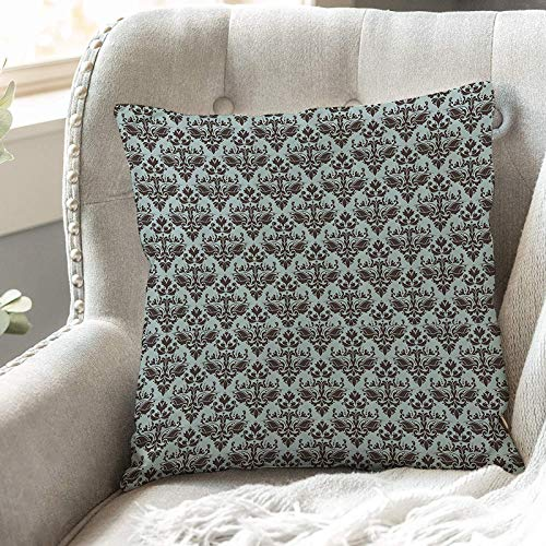 Cushion Covers 45cm x 45cm,Damask Set,Damask Shapes Motif Western Modular Leaves and Rayon C,18x18 inches Soft Polyester Square Decorative Throw Pillow Cases for Living Room Sofa Couch Bed Pillowcases