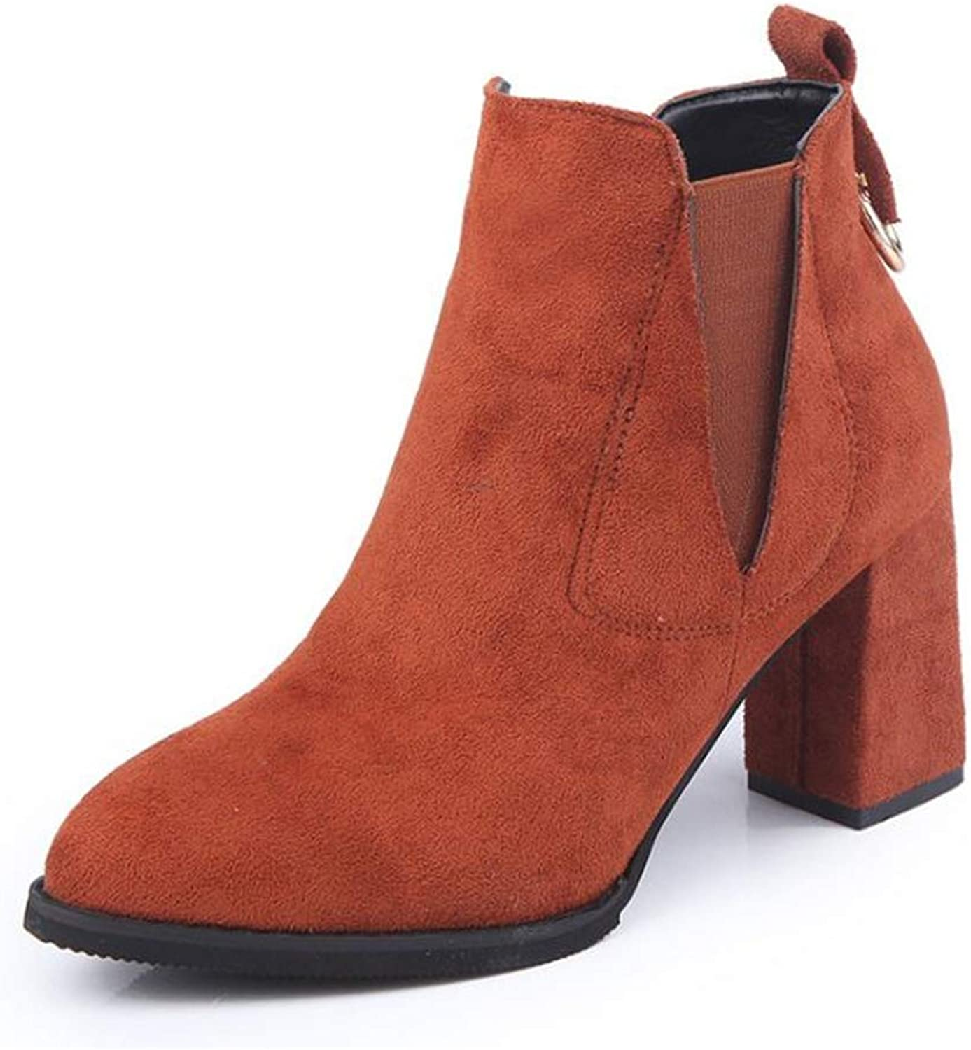 Fancyww Women's Chunky Heel Ankle Boots Platform Round Toe Comfortable Winter shoes