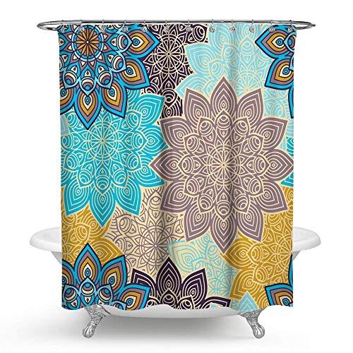 KISY Ethnischer Boho Paisley Floral Stoff Duschvorhang Mandala Bohemian Blumen Badezimmer Dekor beschwert Duschvorhang für Badewanne Duschen, 183 x 183 cm, bunt