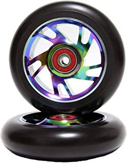 Z-FIRST 2Pcs 110mm Pro Scooter Wheels with ABEC 9 Bearings Fit for MGP/Razor/Lucky Envy/Vokul Pro Scooters Replacement Wheels (Rainbow)