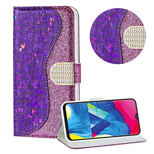 Diamant Brieftasche Hülle für Galaxy A10/M10,Lila Wallet Handyhülle für Galaxy A10/M10,Moiky Ultra Dünn Stilvoll Laser Glitzer Farbe Block Klappbar Stand Silikon Handytasche