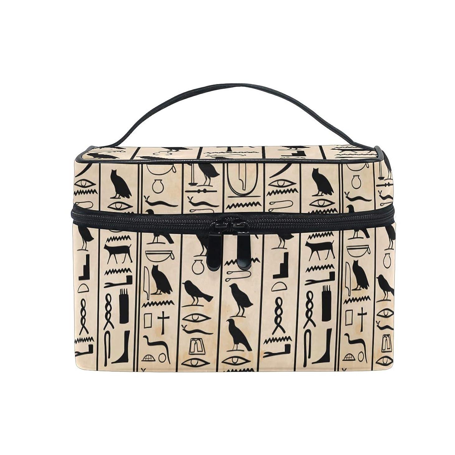 ピアノを弾く一瞬敬意を表するアートエジプトエジプトの象形文字メイクバッグ 旅行 メイクボックス バッグ トイレタリー トレイン ケース レディース 美容 化粧ポーチ ポーチ