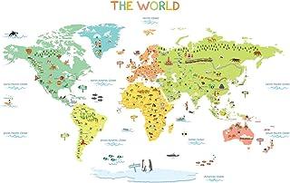 DECOWALL DWL-1616S Mapamundi de Color Vinilo Pegatinas Decorativas Adhesiva Pared Dormitorio Salón Guardería Habitación Infantiles Niños Bebés (Medio)(English Ver.)