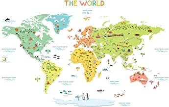 DECOWALL Colourful World Map Kids Wall Stickers Wall Decals Peel and Stick Removable Wall Stickers for Kids Nursery Bedroom Living Room(1306N 1616N/S 1815 1816) Medium_1616S 1