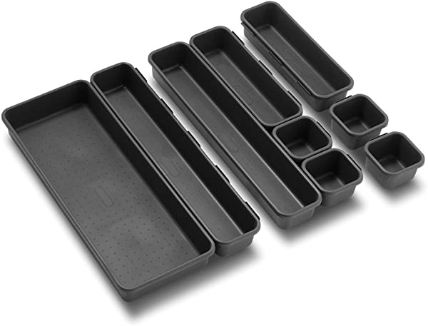Madesmart Value 9 Piece Interlocking Bin Pack Granite VALUE COLLECTION Customizable Multi Purpose Storage Durable Easy To Clean BPA Free