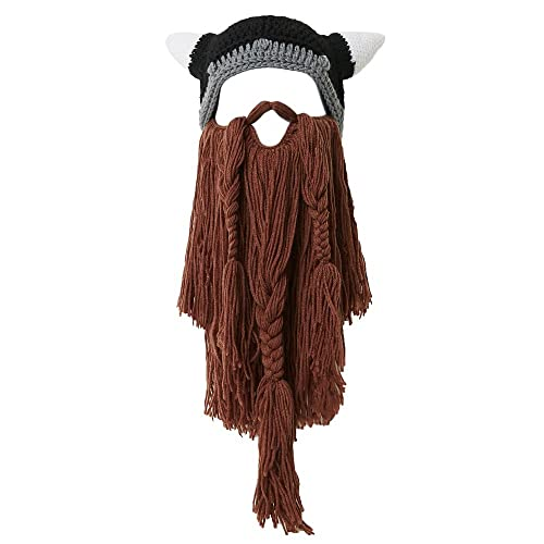 2bc7aa3d2 Lantra Besa Women Men Viking Pirate Cosplay Hat Full Beard Mask with Horns  Knitted Funny Long