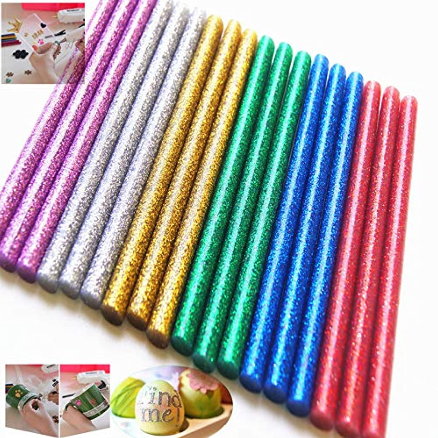WeiMo 120+10 pcs Colorful Hot Melt Glue Stick, Small Glue Gun Used Long Shape Hot Melt Glue Stick for Art Craft DIY Home Decoration Sealing and Gluing (130)