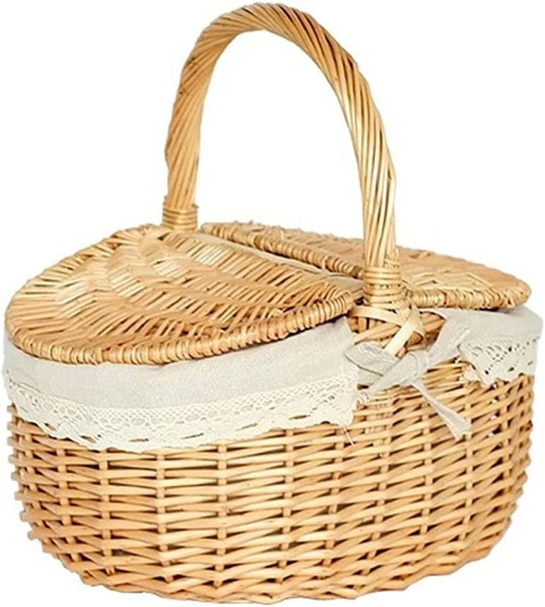 Wicker Picnic Basket with Brand new Limited price sale Handle and Double Lids
