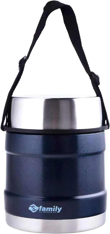 Termo para Comidas de Acero Inoxidable, Recipiente Aislado para Sólidos y Líquidos con Recipiente Interiores para Sopas, Salsas o Ensaladas (Azul Marino, 1L)