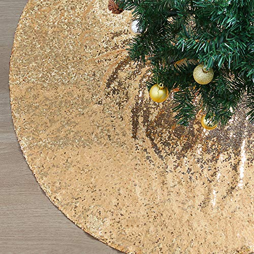 QueenDream 48Inch Christmas Tree Skirt Gold Sequin Xmas Christmas Tree Skirt for Gold Christmas Decorations Outdoor Tree