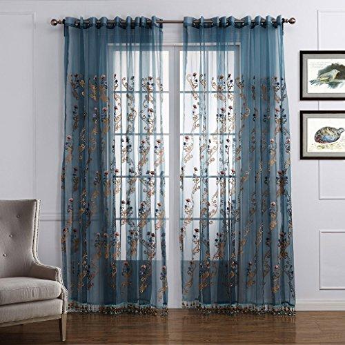 GWELL Luxus Elegant Transparent Vorhang Gardine Blumen Druck Voile Schal mit Quaste TOP QUALITÄT für Wohnzimmer Schlafzimmer 1er-Pack blau rosa