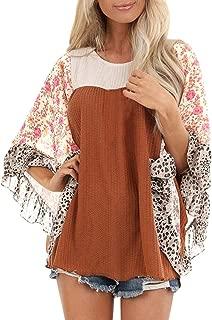 〓COOlCC〓Women Round Neck Long Sleeve Floral Plus Size Tops Batwing Sleeve 3/4 Sleeve Boho Tunic Tops Cute Sweatshirts