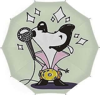 Folding Umbrella,Elvis Presley Decor,Auto Open Close Umbrella 45 Inch,Cute Musician Cartoon Dog Dressed as Elvis Singing Doubles Competition