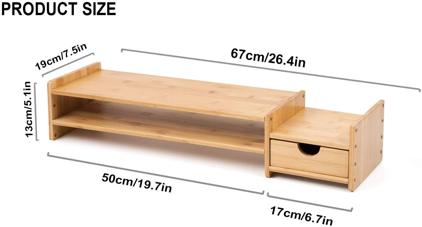 Monitor Stand Riser Desk Organizer-Bamboo 2 Tier Laptop Stand with Drawers, Adjustable Desktop Storage Organizer for Computer, Printer, Cellphone-Use in Office,Home/Reduce Neck &Eye Strain(Basic)