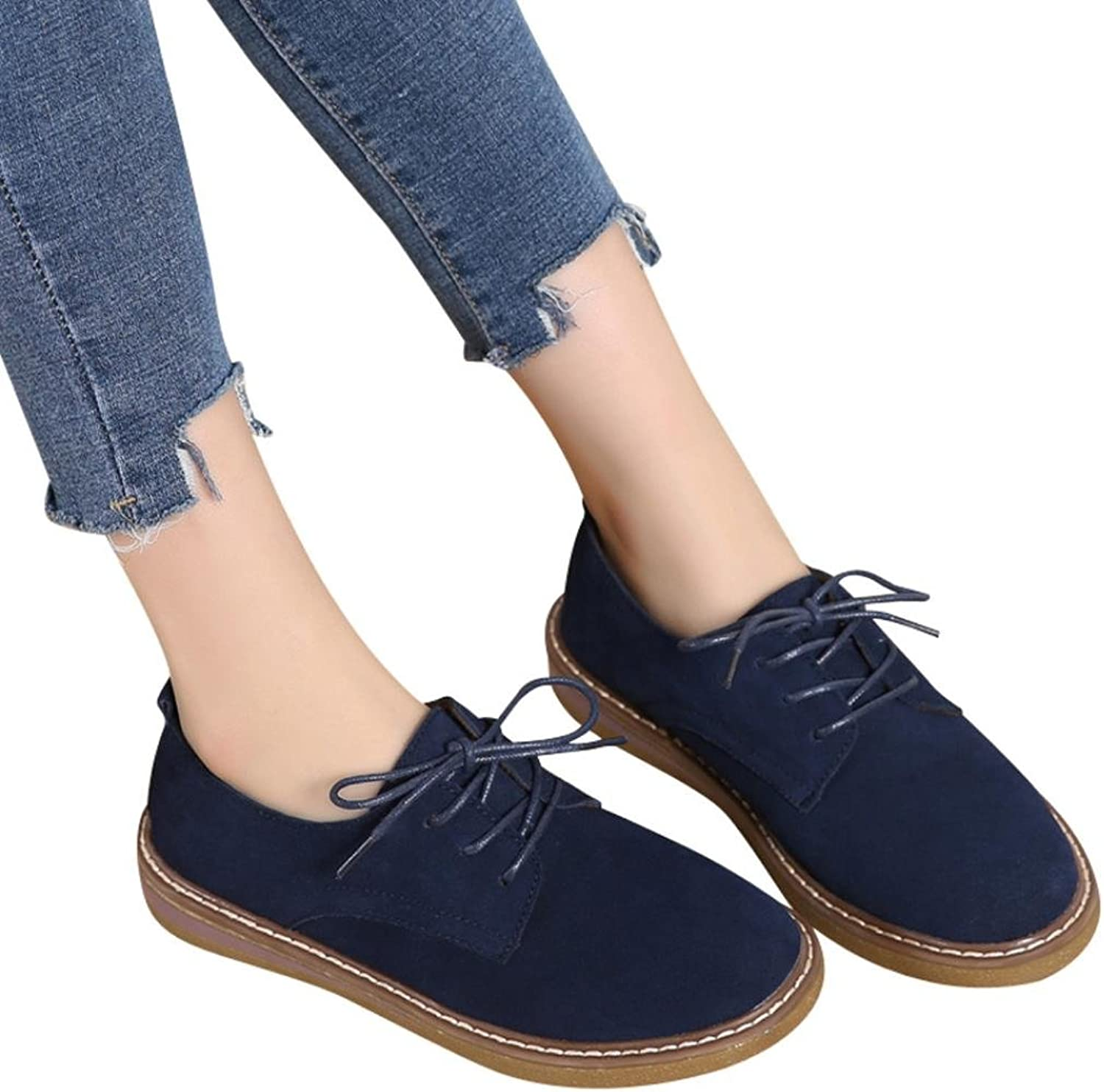 Fheaven (TM) Women Sneakers Loafers shoes Suede Leather Lace Up Boat shoes Round Toe Moccasins Flats Black