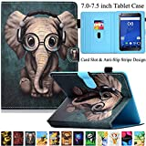 Universal 7.0-7.5 inch Tablet Case, Artyond PU Leather Multi-Angle Stand Case with Card Slots Full Protect Cover for Android, Windows, Kindle, Galaxy Tab & Other 7.0-7.5 inch Tablet (Elephant)