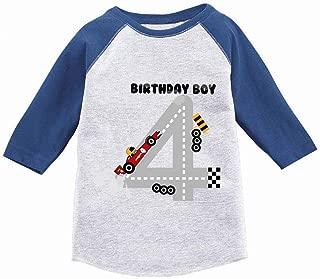 Awkward Styles Boys Birthday Toddler Raglan Race Car 4th Birthday Party Jersey