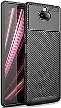 FINON Carbon Design Model [ TPU ] for Sony Xperia 10 Case - Fingerprint Prevention Function and Lightweight Soft case, Shock Resistance, Easy desorption, Stylish Design - Black