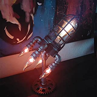 Ironwork Water Pipe Rocket Lamp Father's Day Retro Rocket LED Night Lamp Creative Rocket Style Desk Lamp Unique Gifts for ...