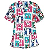 Christmas Working Uniform Women V-Neck Tops Short Sleeve Xmas Printing T-Shirt Nurses Working Suit Cute Blouse Workwear