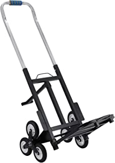 VEVOR Stair Climbing Cart Portable Climbing Cart 330 lb Capacity All Terrain Stair Climbing Hand Truck Folding Stair Hand Truck Heavy Duty with 6 Wheels (Black)