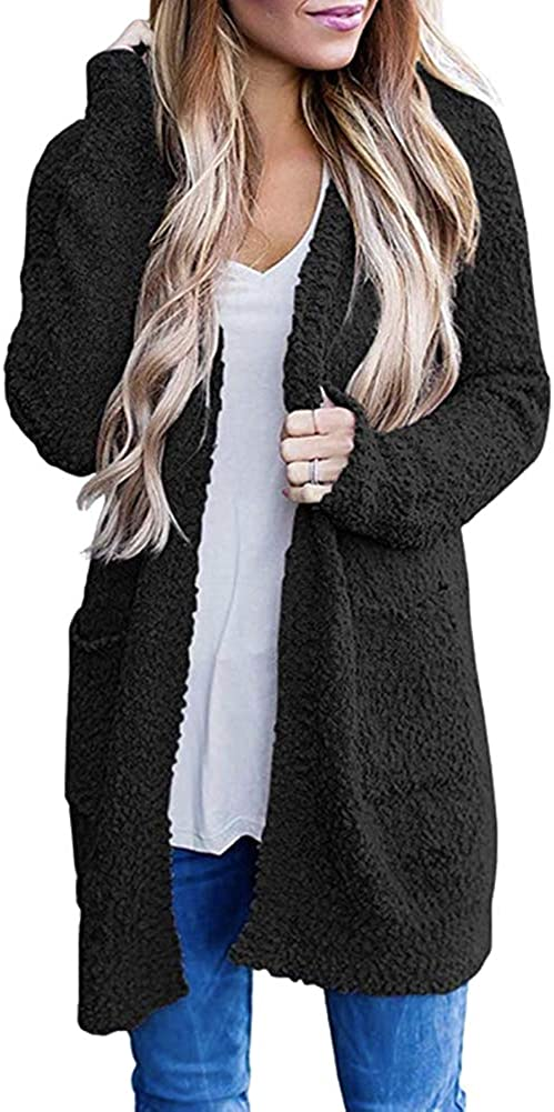 ZHENWEI Womens Open Front Long Knit Cardigan with Pockets Long Sleeve Casual Loose Sweaters Coat