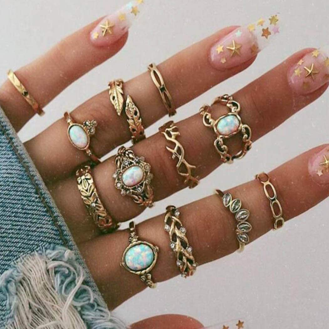 Fstrend Boho Rhinestone Ring Set Gold Crystal Leaf Joint Knuckle Stackable Finger Rings Multi Size Midi Hand Jewelry Accessories for Women and Gir ls(12PCS)