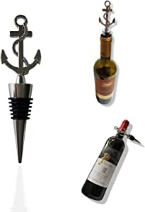 Titagail Red wine preservation stopper,Stainless Anchor shape wine bottle stopper Vacuum Food Grade Silicone Mater Set of 2(sliver)