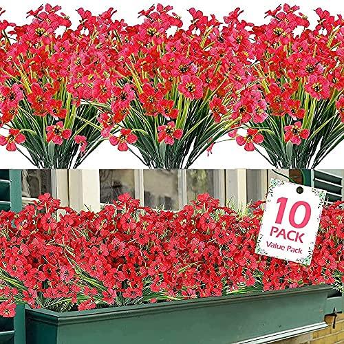 10 paquetes de flores artificiales de plástico para exteriores, flores falsas de seda, resistentes a los rayos UV, arbustos de plástico sintético para colgar en el hogar, jardín, fiesta, boda - rojo