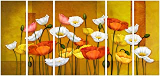 Art Amori Bunch of Colour Full Flower set of 5 MDF Painting Multicolour 12x18 Inch - 1 Piece + 6x18 Inch-4 pieces for Wall...