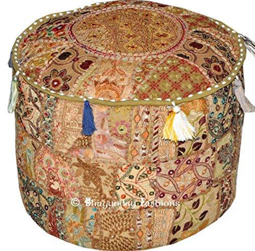 Indiase traditionele huis decoratieve Ottomaanse handgemaakte en patchwork voetenbank vloer kussen, Indiase geborduurde patchwork Ottomaanse Cover, ontwerpen etnische patchwork poef, 14x22 Inch. Door Bhagyoday