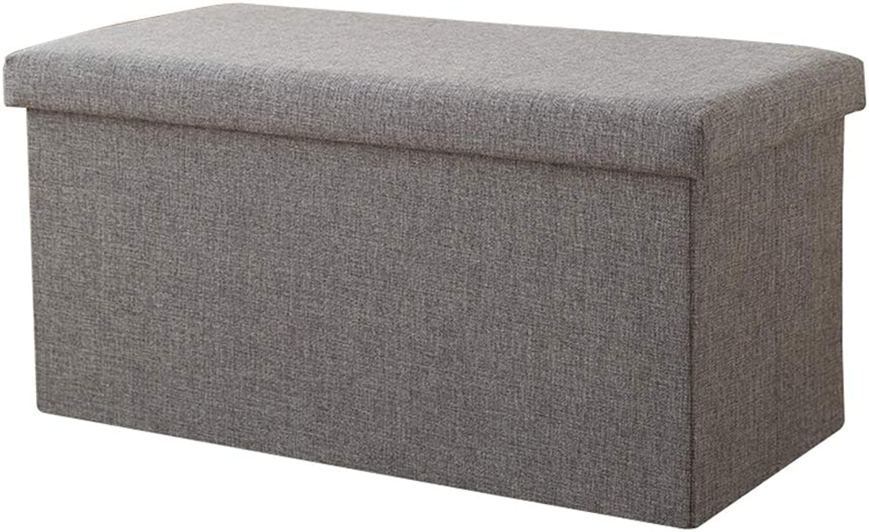 Storage Stool, Rectangular Folding Storage Box - Home Multi-Function Cotton and Linen Storage Box - Multi-color Optional