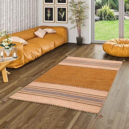 Navarro Natur Teppich Bauwolle Kelim Rost Braun in 8 Größen
