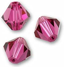 100pcs Preciosa Bicone Crystal Beads 6mm Fuchsia Compatible with Swarovski Crystals 5301/5328 preb622
